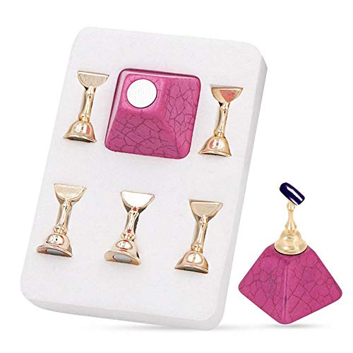 Nail Holder Set Magnetic Nail Tip Practice Stand Base Alloy Holder Nail Art Display Manicure Tool Set with Alloy Holders Manucure Nails Salon Tool(Rose rouge)