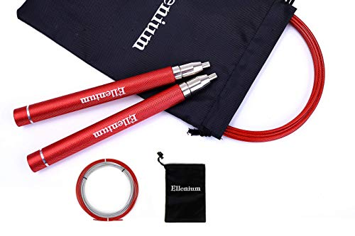 Ellenium Speed Jump Rope - Premium Quality with Self-locking Adjustable Design, Fast & Smooth Bearings, Anti-slip Handles | Great for Boxing, MMA, Double Unders, Crossfit, and Fitness Workouts