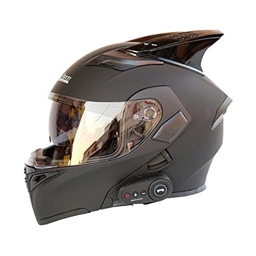 Smilfree Casco Bluetooth Integrado para Motocicleta Casco De Motocicleta Modular De Cara Completa con CertificacióN ECE para Motocicleta con Doble Lente con Respuesta AutomáTica FM Unisex