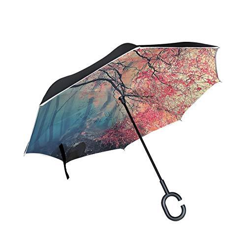 Paraguas invertido de Doble Capa, a Prueba de Viento, para Exteriores, para Lluvia, Sol, para Coche, con Mango en Forma de C, para reversa, Bosque de otoño