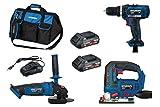 HYUNDAI Akku Werkzeug Set, Combo Kit, bestehend aus 18V Akkuschrauber, Winkelschleifer, Stichsäge, Ladegerät und Akkus in einer robusten Werkzeugtasche (CD + CAG + CJS mit 2x2Ah Akkus)