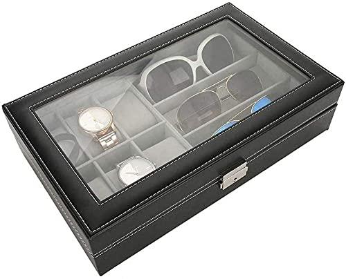 Caja de reloj – 24 ranuras para relojes y joyas, caja de almacenamiento para pulsera, bandeja de piel sintética, color negro
