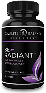 BeRadiant - Full Spectrum Hair Skin & Nails Vitamins for All Hair Types - Biotin, Collagen, Antioxidants & Powerful Herbs for Healthy Skin, Faster Hair Growth & Stronger Nails - Stop Hairloss