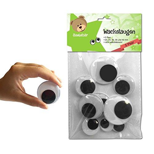 Bastelbär Wackelaugen Groß - 5 Paar in verschiedenen Größen