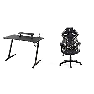 Woxter Stinger Gaming Desk Elite – Mesa Gaming de Escritorio, Leds, Organizador de Cascos, Mandos y Posa Vasos + Silla Gaming