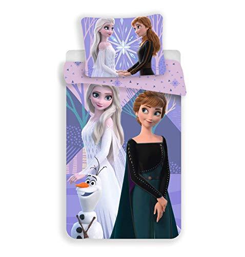 Jerry Fabrics Disney Frozen, Juego de Cama para Niños, Purple, Funda de Edredón 140 x 200 cm y Funda de Almohada 70 x 90 cm