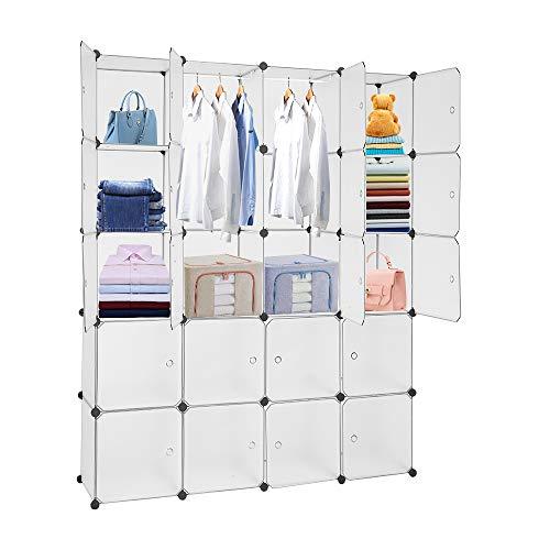 KOUSI DIY Wire Cube Storage, Modular Metal Shelf, Cubby Shelving, Stackable Grid Organizer, 25 Cube, Black