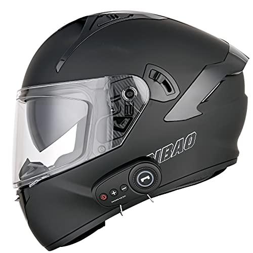 Casco Moto Integral Bluetooth Incorporado Casco Moto Integral ECE Aprobado Casco Scooter con Doble Visera Anti Vaho para Hombre y Mujer Casco de Motocicleta para Adultos K,M