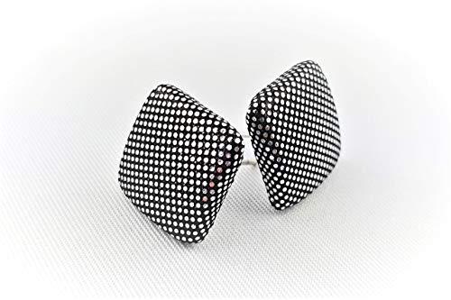 schwarz silber Glitzer Ohrstecker - quadratisch 15mm - Stoffohrstecker - Stoff Ohrstecker Handmade MotleyBees