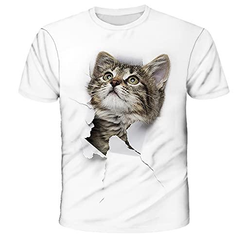 Camiseta Unisex con Estampado de Gato 3D Camisetas de Manga Corta Informales Personalizadas de Verano Camisetas