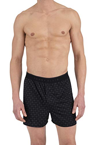 Perry Ellis Men's Diamond Rim Luxe Boxer Short, Black/Aluminum, X-Large