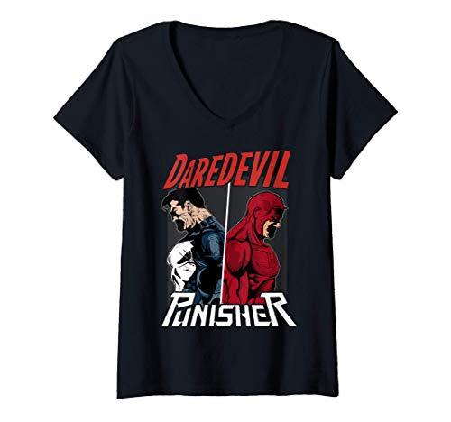 Femme Marvel Daredevil The Punisher Only One Way T-Shirt avec Col en V