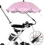 harupink Paraguas para cochecito universal, carrito de bebé con soporte, fácil montaje, revestimiento UPF 50 anti-UV, impermeable, apto para bicicletas y cochecitos (rosa)