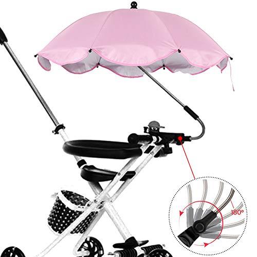 Ombrello per Passeggino Universale, Carrozzina Bambino Dell'ombrello con Supporto Facile Montaggio Rivestimento UPF 50 Anti-UV Impermeabile Adatto per Biciclette e Passeggini (Rosa)