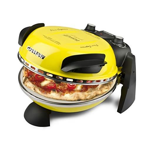 Delizia G3 Ferrari, Horno de pizza profesional Express Original con Placa de Piedra refractaria (ø 31 cm), 1200 W, 1 Liter, 0 Decibeles, Acero inoxidable, Negro-Amarillo