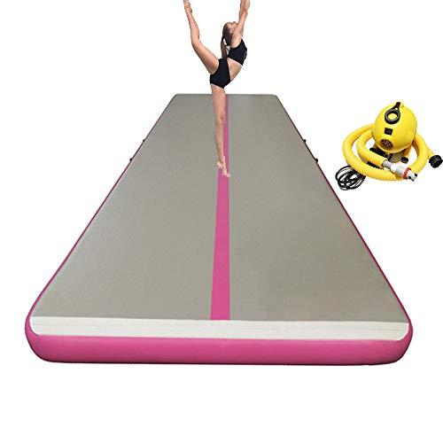 xiaguang airtrack Aufblasbar Gymnastikmatte Tumbling Matte 4M 5M 6M 8M 10M 12M 15M für Gym Training Yogamatte Trainingsmatten Weichbodenmatte Turnmatte Fitnessmatte (Gary Surface Rosa Side, 8x2x0.2m)