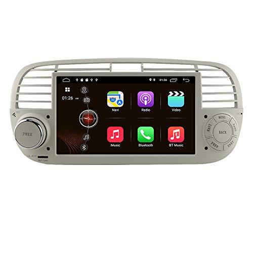 Autoradio Android 10 Stereo con touch screen da 7 pollici per Fiat 500 2007-2014, 1 Din Navigazione GPS Supporta Carplay USB TF Card Bluetooth WiFi RDS Controllo del volante DSP (Bianco)