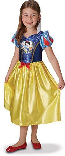 Princesas Disney - Disfraz de Blancanieves con lentejuelas para nia, infantil 5-6 aos (Rubie's 641023-M)