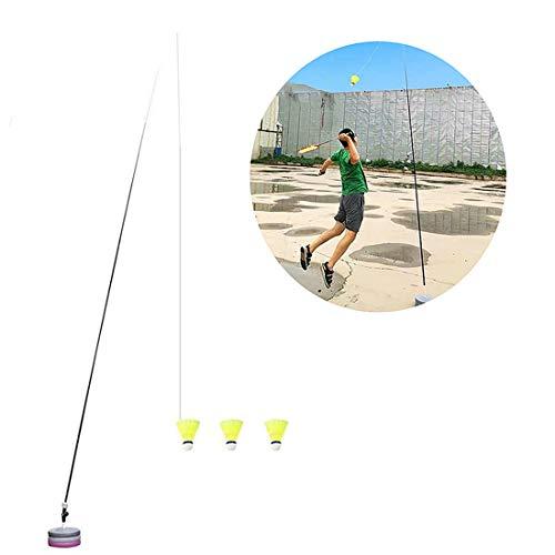 MeTikTok Badminton Potable Teleskop Elastic Rod Trainer, Badminton Selbststudien Zugstufe Power Base Üben Set Für Badminton Lernende, Mit Elastic Stange/Leitung/Basis / 3 Badminton-Bälle