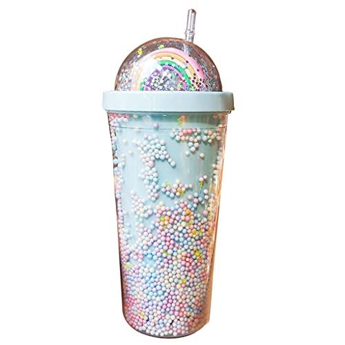 LIZHILIAN 550 ml creativo arco iris botella de agua de plástico de doble capa de arena movediza brillante lentejuelas kawaii beber taza con tapa de paja café jugo vasos taza de bebidas