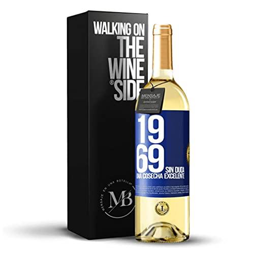 «1969. Sin duda, una cosecha excelente» Mensaje en una Botella. Vino Blanco Premium Verdejo Joven. Etiqueta Azul PERSONALIZABLE.