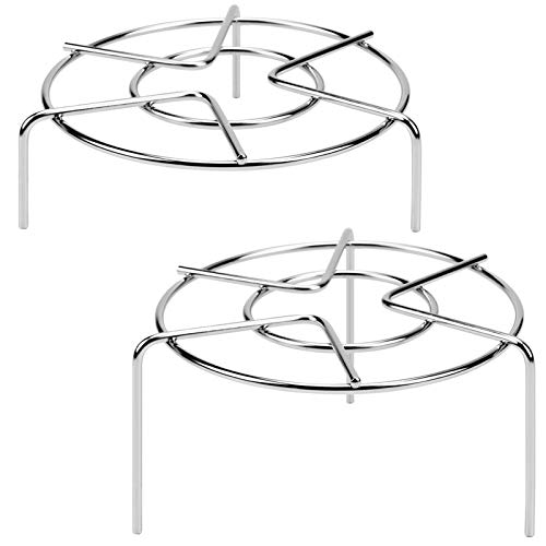 "HULISEN 3-7/8"" and 1-5/8"" Tall Trivet Rack Stand, Heavy Duty 18/8 Stainless Steel Multifunction Basket, Pressure Cooker Steam Rack"