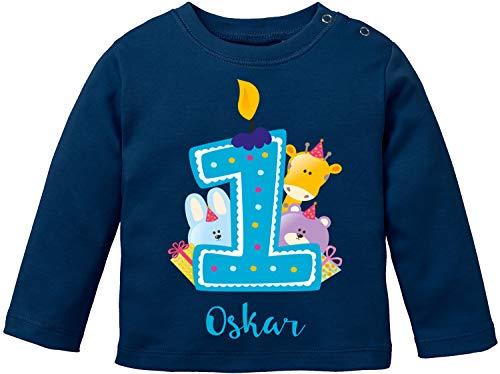 EZYshirt® Geburtstagsgeschenk Baby | 1. Geburtstag niedliche Tiere feiern die erste Geburtstags Party Body | T-Shirt | Pullover aus Reiner 100% Bio Baumwolle