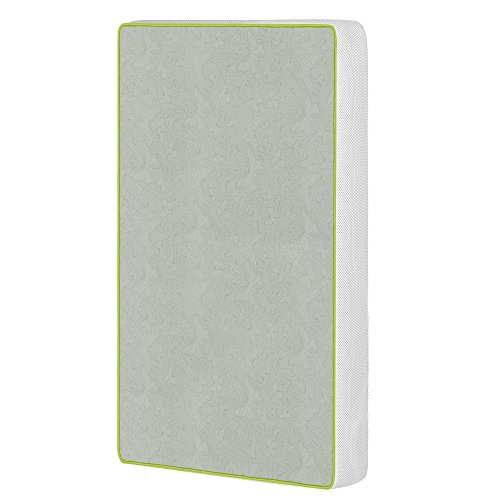 Dream On Me 2-in-1 Breathable Two-Sided Portable Crib Foam Mattress, White/Green