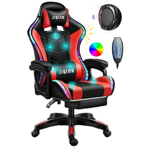 ERSHY Gaming Chair LED Lights Racing Computer Chair Ergonomic Office Massage Chair with Massager Lumbar Support and Retractible Footrest Adjustment of Backrest, Full Massage, Bluetooth Speaker,Red
