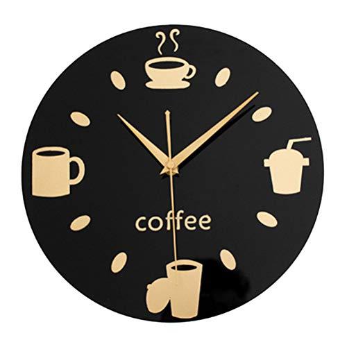 VORCOOL Miroir 3D Tasse À Café Ronde Horloge Murale Restaurant Cuisine Muet Décoratif Sticker Mural Horloge Art Horloge Murale Diamètre 30 CM (Fond Noir et Or)