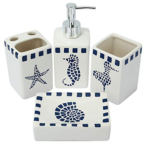 LUEUR Decorative Ceramic Bathroom Countertop Accessories Set - Includes Refillable Soap Lotion Dispenser, Divided Toothbrush Stand, Tumbler Rinsing Cup,Soap Dish-4pcs Accessories Set Seahorse Printed
