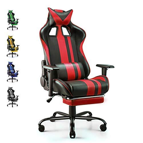 Soontrans Silla Gamer Ergonomica Silla Gaming Oficina Racing Sillon Gamer Despacho Profesional, con Reposapies, Soporte Lumbar Reposacabezas, Altura Ajustable Reposabrazos (Rojo)