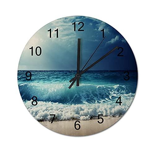 Reloj de Pared Vintage,Océano mar Marea Ondas Playa r,Relojes de Pared de Madera silenciosos Que no Hacen tictac,Reloj de Pared rústico de Granja para la decoración del Dormitorio de la Sala de Estar