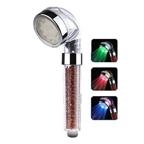 YDYG LED douchekop met temperatuursensor, 3 kleuren wisselen, dubbele ionische filtratie massage spa hoofd, huid droog haar