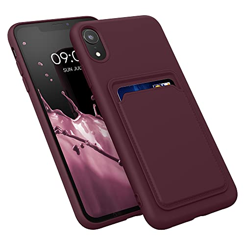 kwmobile Funda con Tarjetero Compatible con Apple iPhone XR - Carcasa Protectora de TPU Suave - Rojo Vino