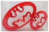 Formina per biscotti a forma di logo di Batman, per biscotti, pasticcini, pasta di zucchero, in confezione regalo, plastica, Red, 2 pezzi