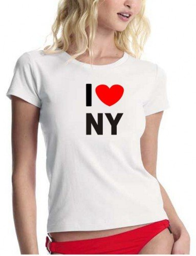 Coole-Fun-t-Shirts Damen t-Shirt I Love NY Women - Sex and The City, Weiss, S