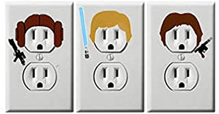 Princess leia, Han Solo and Luke Skywalker combo - Star Wars - Electric Outlet Wall Art Sticker Decal, Star wars, C3PO, R2D2, darth vader, obi-wan kenobi, chewbacca, yoda, kylo ren, boba fett
