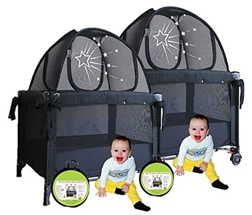 Aussie Cot Net Co - Twin Pack - Pack n Play Travel Tent to Keep Baby from Climbing out - Portable ready to use on vacation - Nursery Mini Crib Tent Canopy Netting Cover a must when staying with family