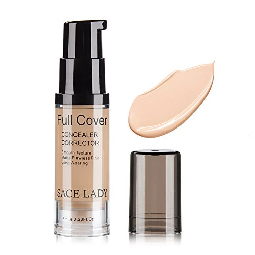 Pro Full Cover Liquid Concealer, Waterproof Smooth Matte Flawless Finish Creamy Concealer Foundation for Eye Dark Circles Spot Face Concealer Makeup, Size:6ml/0.20Fl Oz, Natural