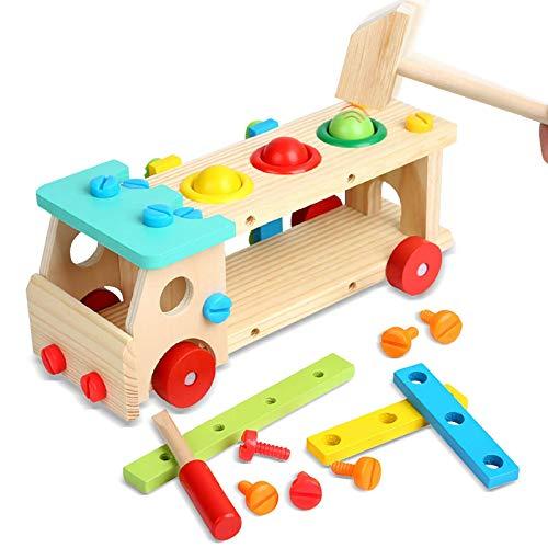 Euyecety Hammerspiel Spielzeug Werkbank aus Holz, Werkzeugkasten Holz für 3 4 5 Jahre Jungen Mädchen, DIY Spielzeug Rollenspielset Montessori Spielzeug, Kreatives Rollenspielset Motorische Fähigkeiten