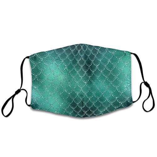 NiYoung Adults Boys Girls Dustproof Windproof Mouth Cover for Outdoor, Breathability Mouth Protection with Adjustable Earloop (Turquoise Green Mermaid Fish Scales Mouth Shields)