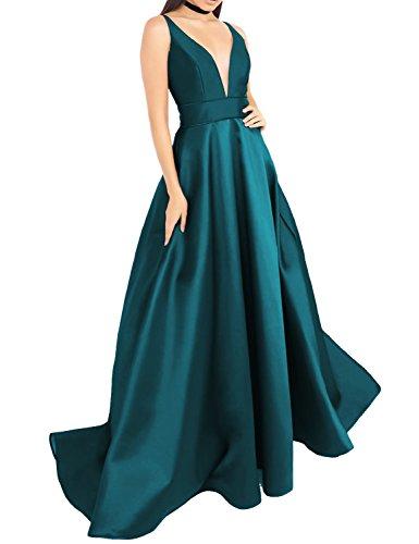Largo vestido de fiesta con bolsillos de satén hundiendo cuello en V transparente insertar vestidos de noche sin espalda E158