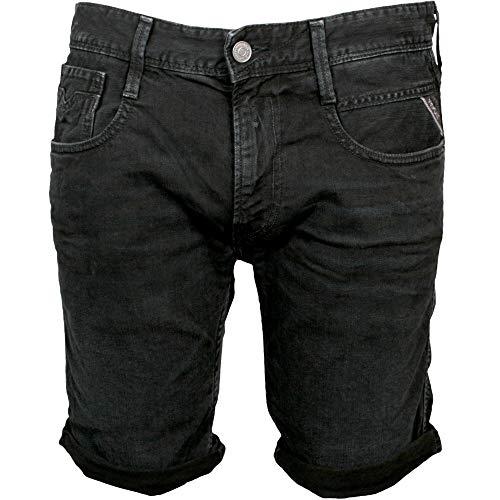 REPLAY Jeans Slim-fit Anbass Pantalones Cortos De Mezclilla para Hombre, Negro XX-Grande