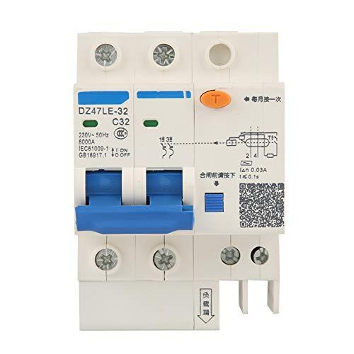 Disyuntor, disyuntor de corriente, DZ47LE-32 2P + N C32 RCCB Disyuntor de corriente residual 230V 32A 30mA