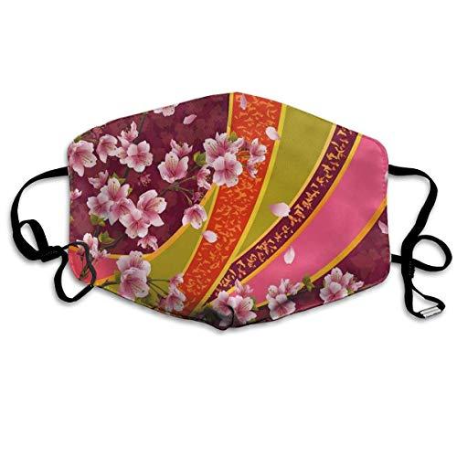 mundschutz Atmungsaktive Gesichtsbedeckung Mundbedeckung Staubdichter orientalischer Hintergrund Sakura Blossom Japanischer Kirschbaumdruck, Gesichtsdekorationen