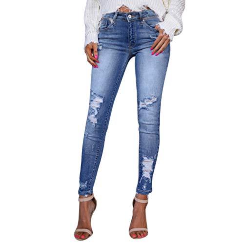Vaqueros Rotos Mujer Pantalones Lápiz Ajustados Pantalones Largos Casual Cintura Alta Pantalones Pitillos Elásticos Push Up Skinny Jeans de Mujer Adelgazados Otoño Invierno RISTHY