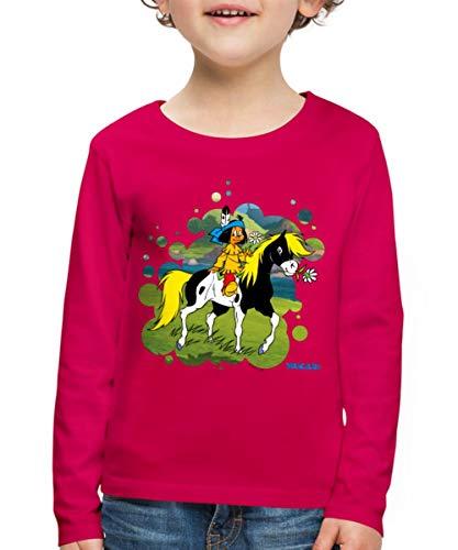 Yakari Indianer Reitet Aus Auf Pferd Kleiner Donner Kinder Premium Langarmshirt, 122/128 (6 Jahre), Dunkles Pink