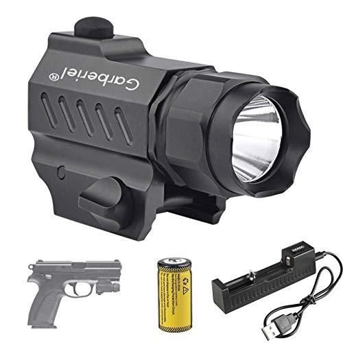 Garberiel LED Handgun Flashlight 210 Lumens 2 Modes Waterproof LED Tactical Gun Flashlight Torch Light for Glock 17 19 21 22 30 43 48 and Picatinny Rail