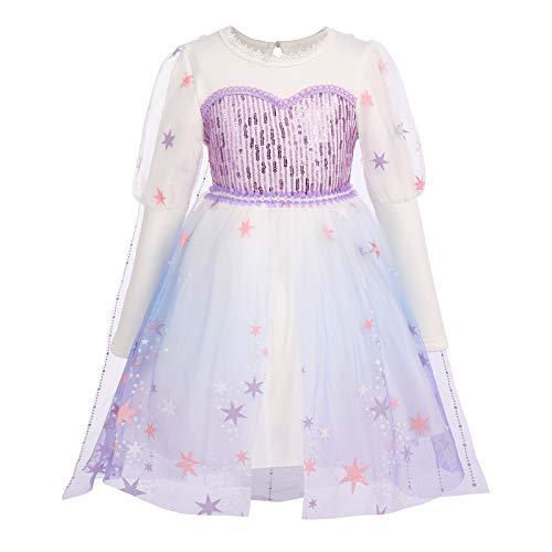 OBEEII Disfraz de Princesa Elsa Frozen 2 Nias Reino de Hielo Vestido de Carnaval Fiesta Halloween Cosplay Navidad Costume Morado01 3-4 Aos